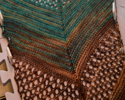 A Find Your Fade shawl hand knit with Hawthorne wool from Knit Picks
