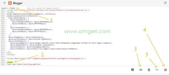 Cara Mencari Kode Tertentu Pada Menu Edi HTML Dashboard Baru Blogger