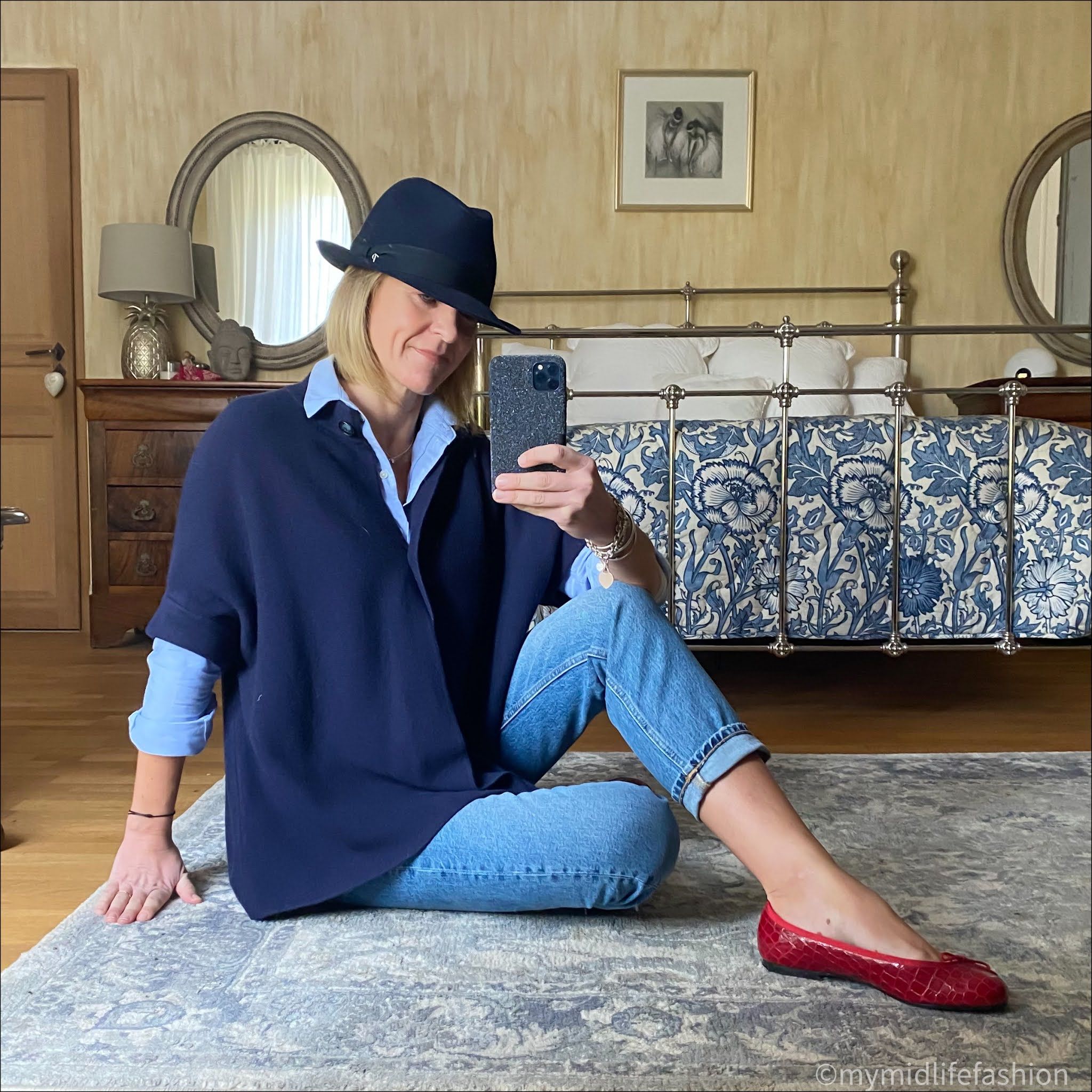 my midlife fashion, pink avocet Bergamo jacket, sezane tomboy shirt, zara straight leg jeans, felt trilby, French sole Henrietta mock croc ballet pumps