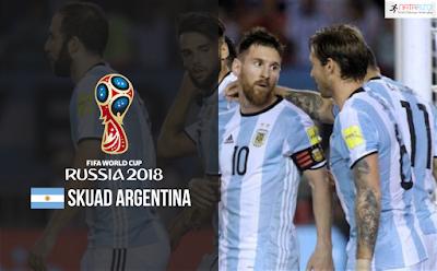 Skuad Susunan Pemain Argentina di Piala Dunia 2018