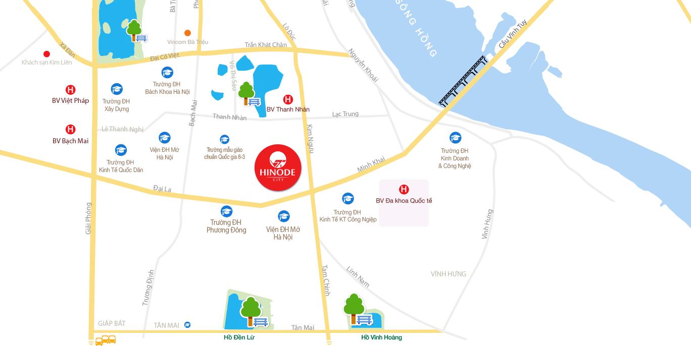 Vị trí của dự án Hinode City Minh Khai