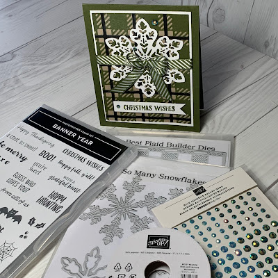 Elements used to create Mossy Meadow Plaid Christmas Card