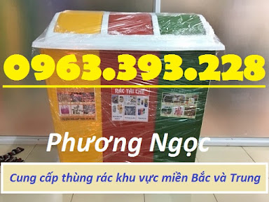 Thùng rác 3 ngăn phân loại rác, thùng rác 3 ngăn nhựa composite TR3N2