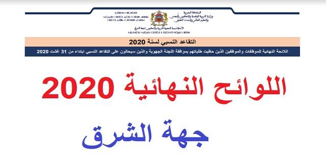 لوائح التقاعد النسبي برسم سنة 2020 - أكاديمية الجهة الشرق