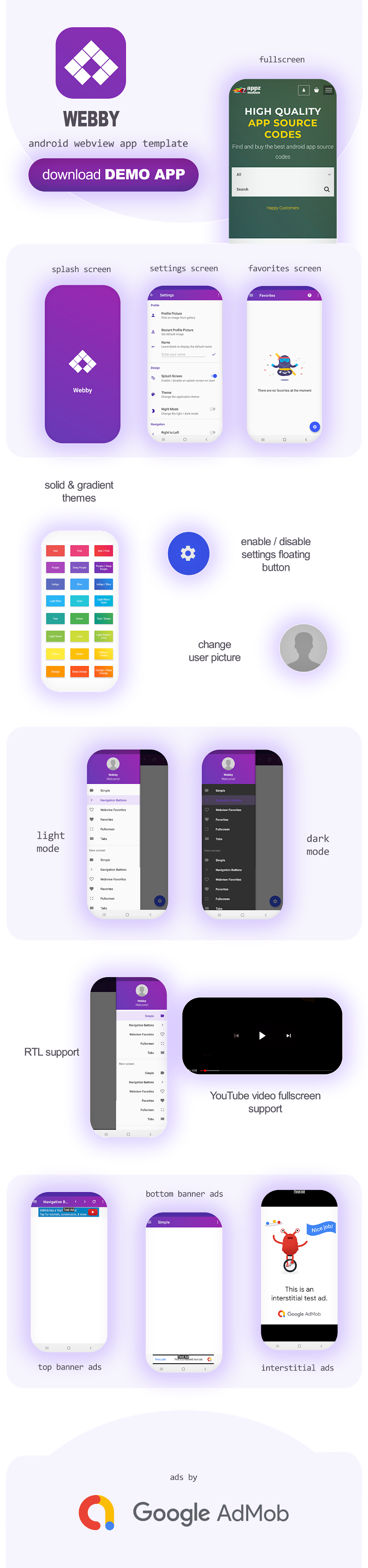 Webby Features WebView App Template