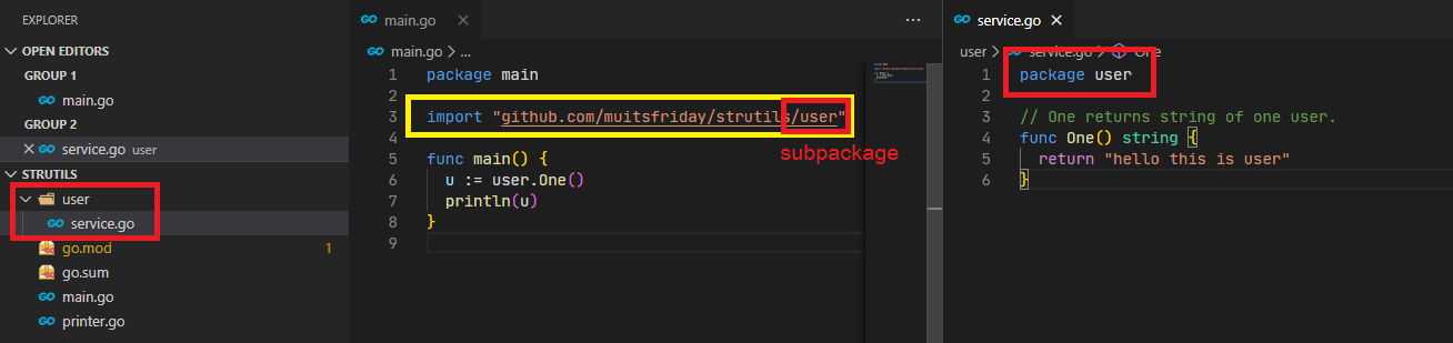 show how to split the code into subpackage in golang