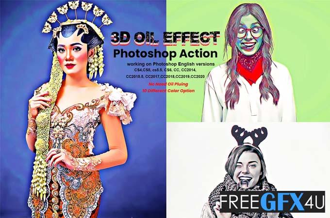 3D Oil Effect Photoshop Action