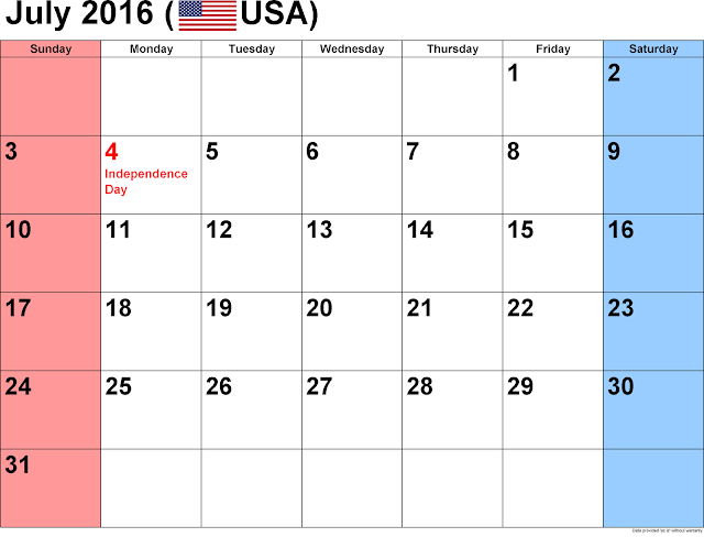 July 2016 Printable Calendar landscape, July 2016 Blank Calendar, July 2016 Planner Cute, July 2016 Calendar Download Free