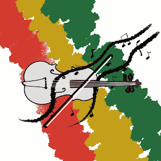 The cover features an illustration of a violin and bow with musical notes flowing out of it; in the background is three slashes of red, gold, and green, representing reggae and Rastafarianism.