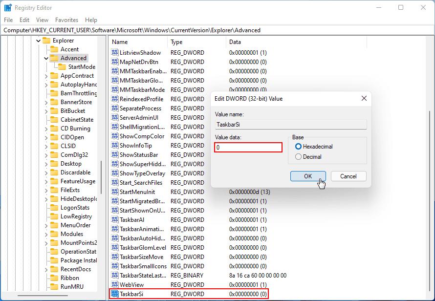 Windows 11 TaskbarSi değerini değiştir