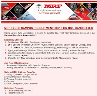 MRF Corp Limited India's Largest Tyre Manufacturer is looking for BSc Candidates For Supervisor Post Apply Online Now