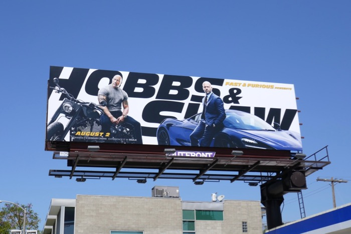 Hobbs and Shaw movie billboard