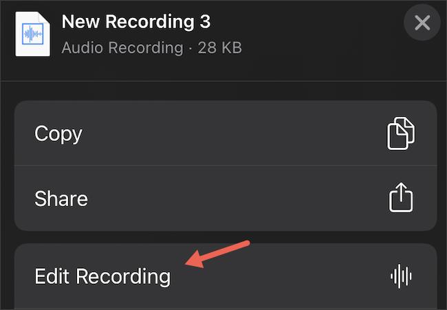 تحرير المذكرات الصوتية على iPhone