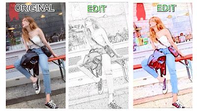 hasil edit aplikasi sketsa wajah hitam putih dan kartun