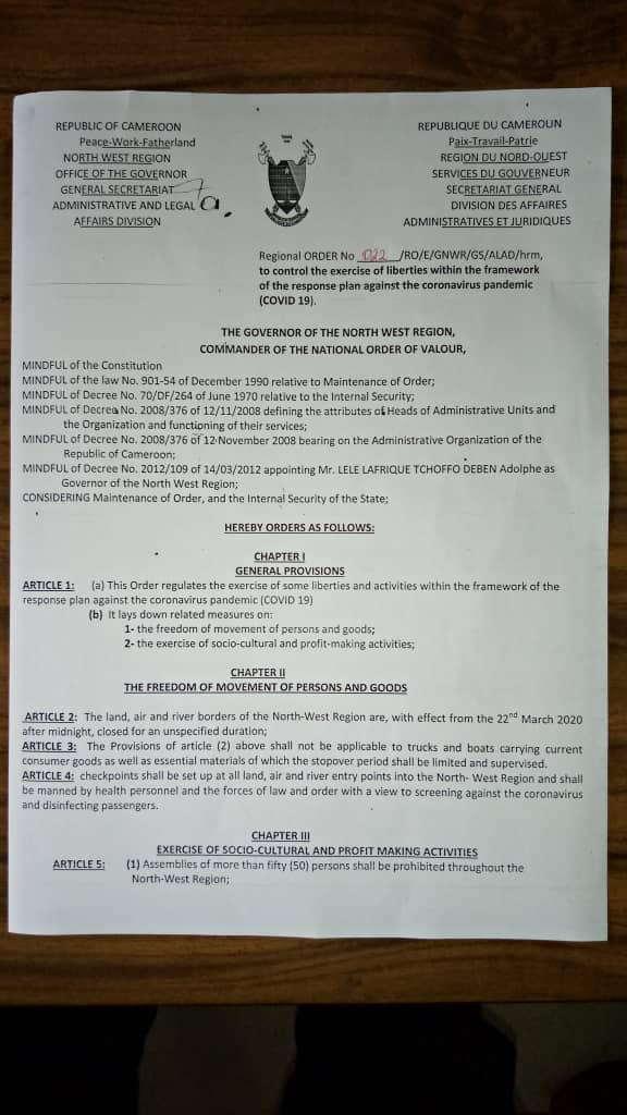 COVID-19: NW Governor signs Restrictions