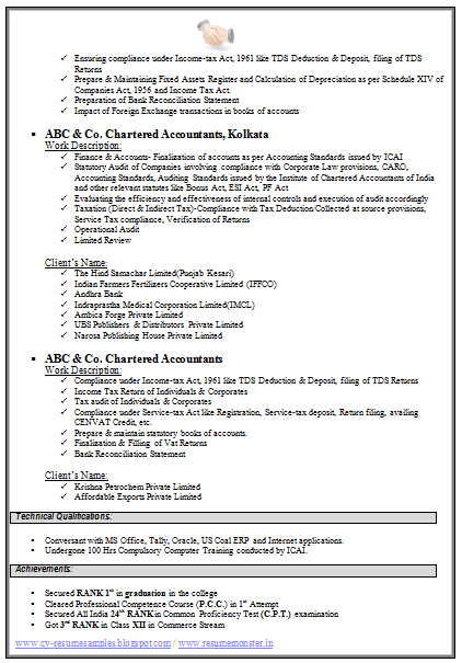 sample resume for experienced chartered accountant