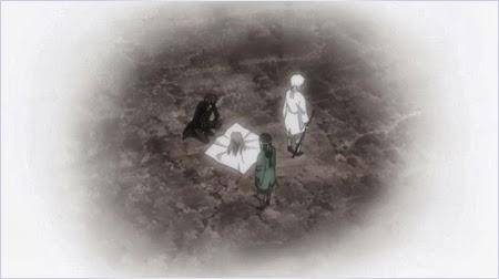 กินโทกิ คาซึระและทากาซึงิกับศีรษะของโชโยผู้เป็นอาจารย์