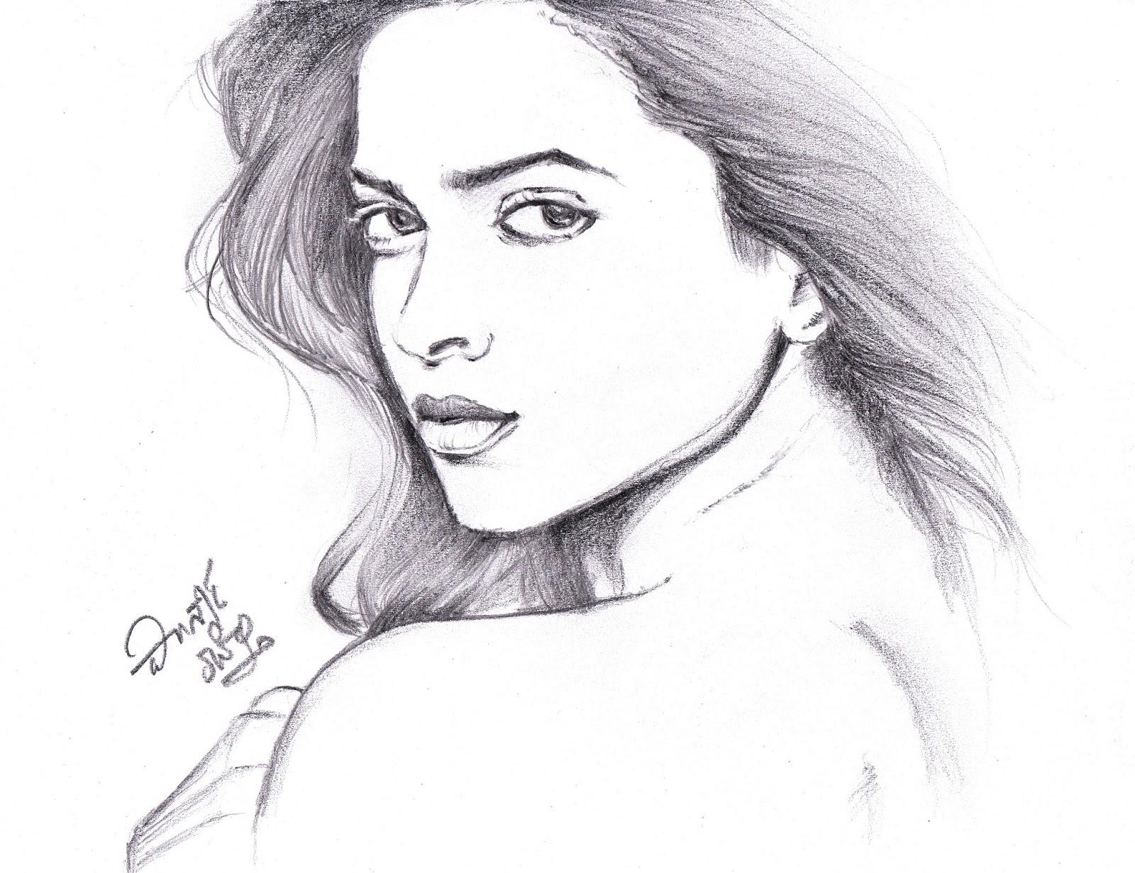 I love movies deepika padukone pencil sketch
