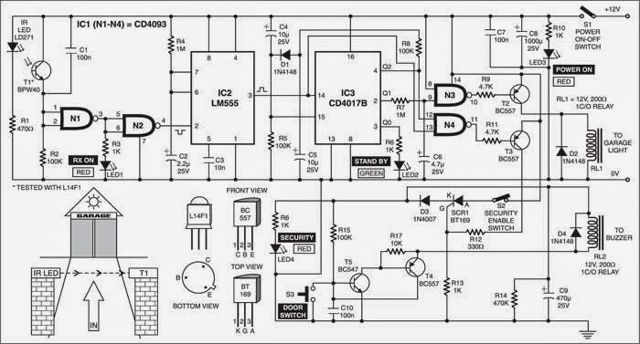 garage light and security control wiring diagram schematic. Black Bedroom Furniture Sets. Home Design Ideas