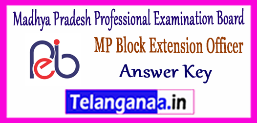 MP Madhya Pradesh Vyapam BEO Block Extension Officer Answer Key 2017