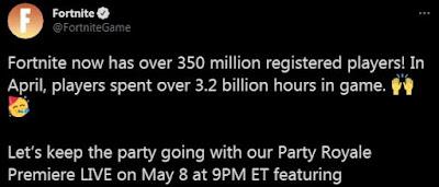 Fortnite artık 350 milyondan fazla kayıtlı oyuncuya sahip