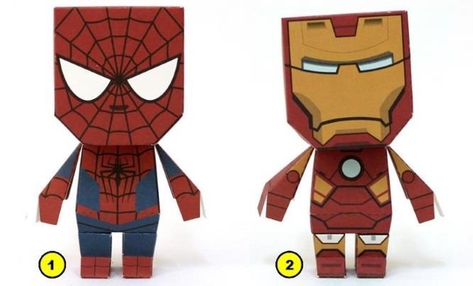 papermau marvel super heroes spider man iron man captain