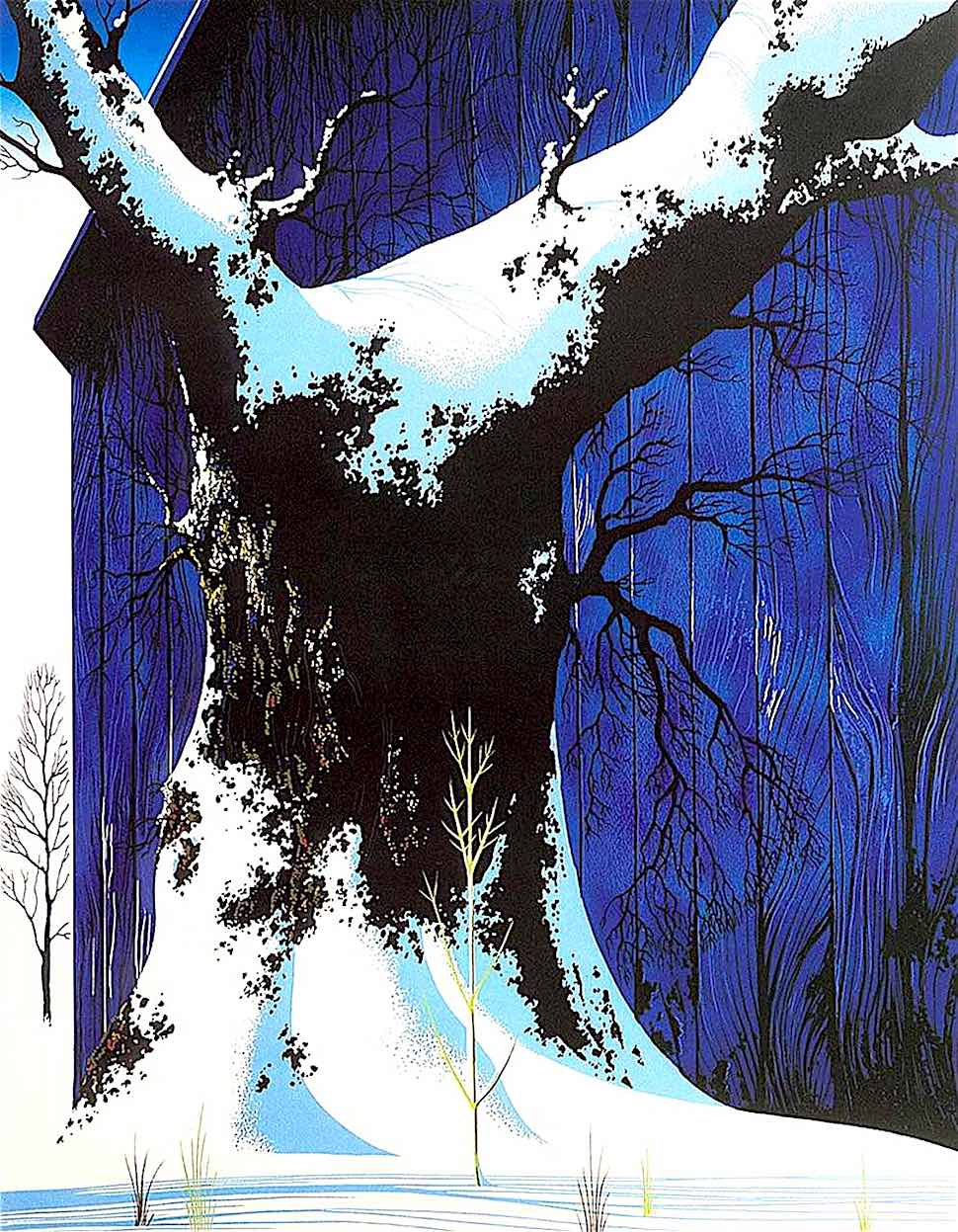 Eyvind Earle, giant tree with blue barn in winter