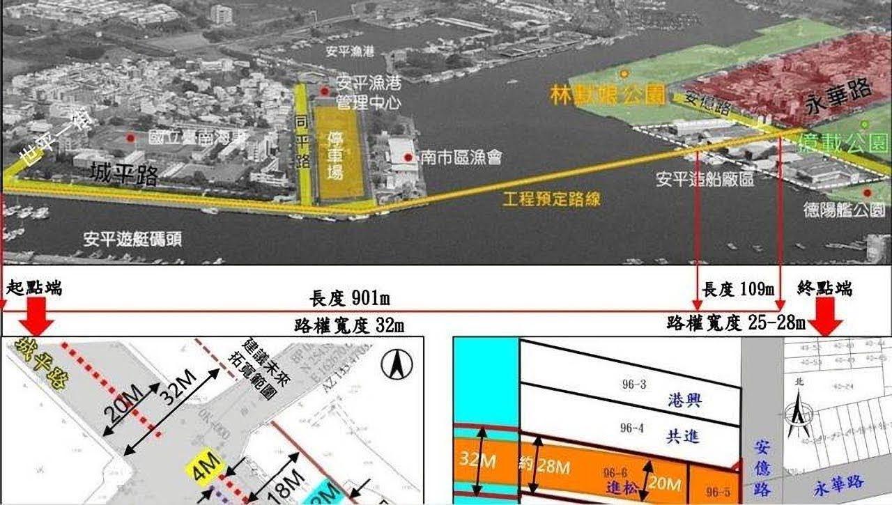 安平漁港跨港大橋督審通過|全長1010公尺有人行道、觀景台、夜間光雕|預定2025年中完工