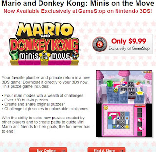 Gamestop Mario and Donkey Kong Minis on the Move Nintendo 3DS Cads