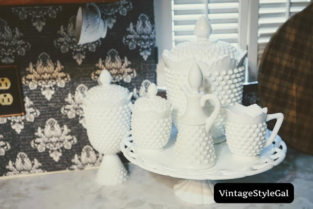 close up of milk glass collection
