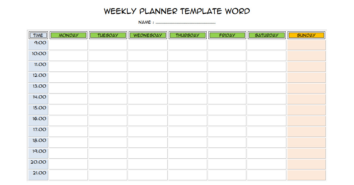 Weekly Planner Template Word - Free Word Format - D-Templates