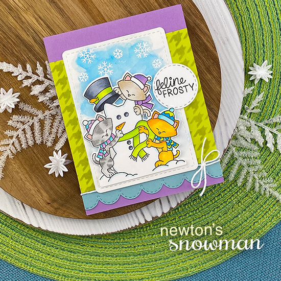 Cats building snowman card by Jennifer Jackson | Newton's Snowman Stamp Set, Houndstooth Stencil, Circle Frames Die Set, Framework Die Set and Sky Borders Die Set by Newton's Nook Designs #newtonsnook #handmade