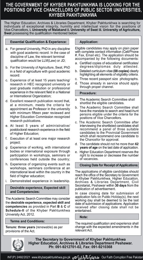 Higher Education, Archives & Libraries Department KPK Jobs 2021 in Pakistan
