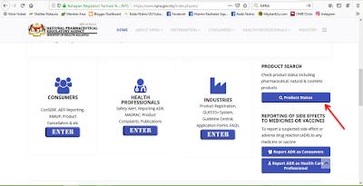 cara semak skincare lulus kkm, Check Status Product Lulus KKM