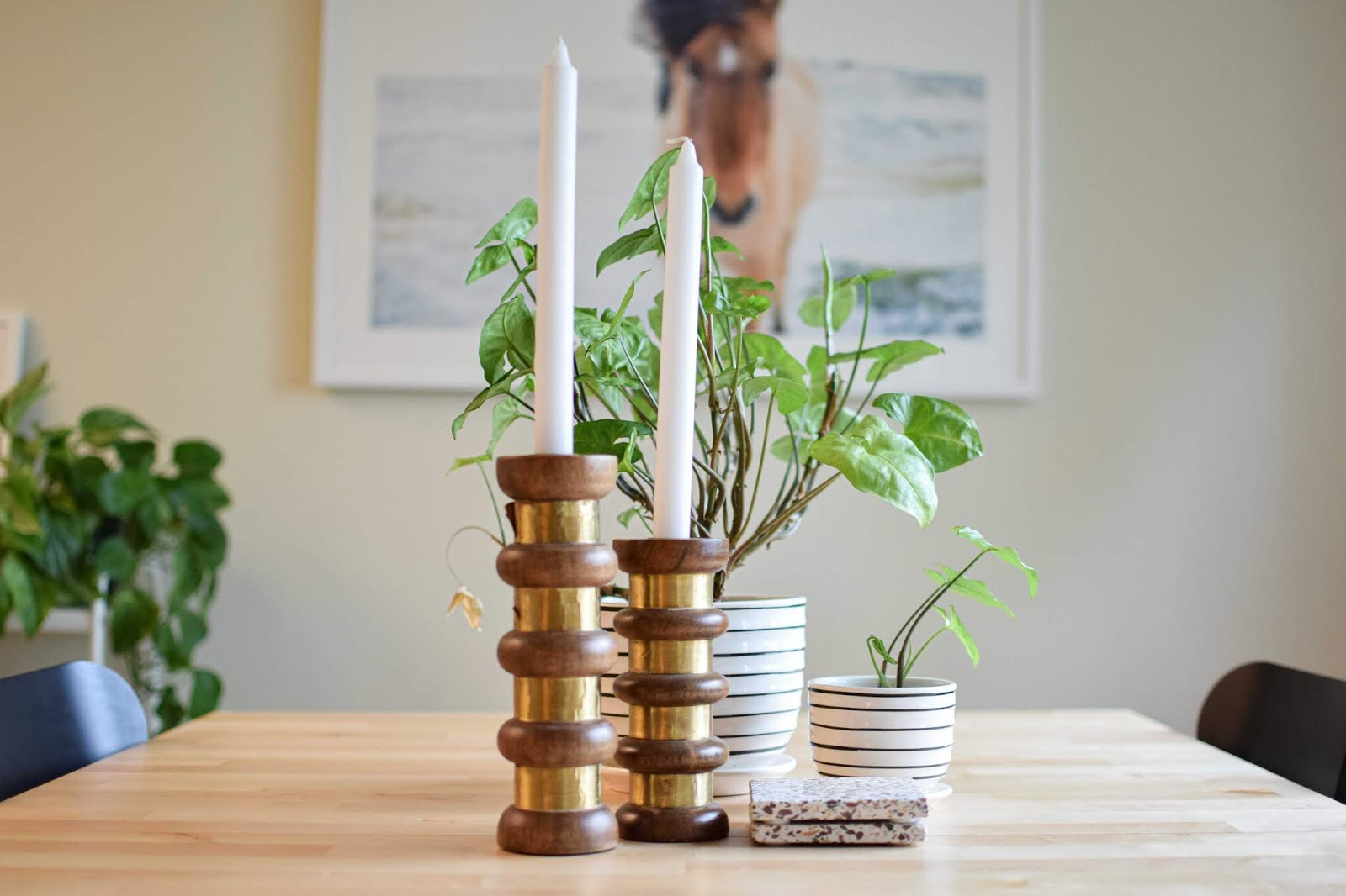 Closeup of candlesticks and plants on my dining room table