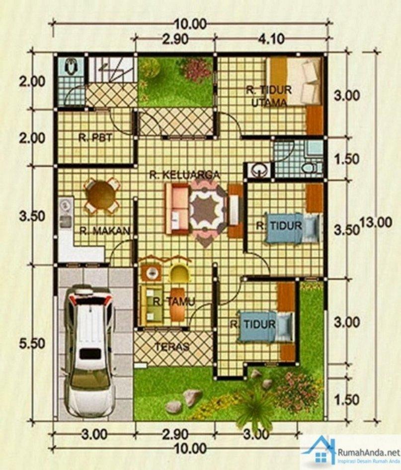 denah rumah 9x9 m 1 2 lantai tampak minimalis