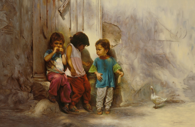 06-Children-in-the-Alley-Morteza-Katouzian-Oil-Paintings-Created-with-a-lot-of-Heart-www-designstack-co