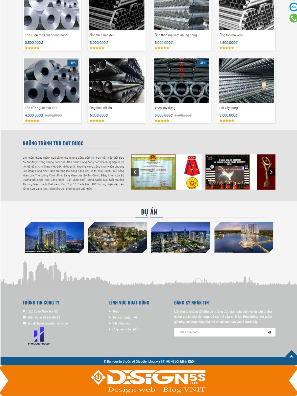Template blogspot công ty kèm bán sản phẩm Halugroup VSM02 - Ảnh 2