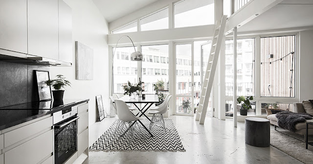 Magical white scandinavian apartment