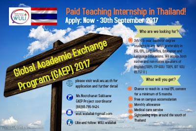 Beasiswa Program GAEP 2017 Pertukaran Mahasiswa S1 ke Thailand | 30 September 2017