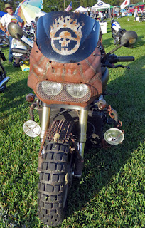 Scary markings on front of motorcycle.