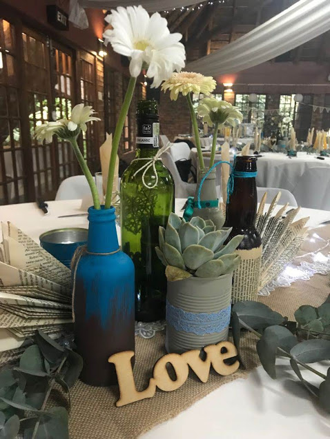 "Rustic Wedding Table decorations with word ""love"""