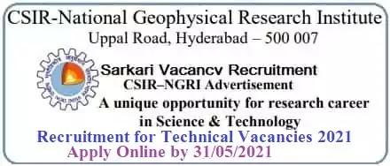 NGRI Hyderabad Technical Vacancy Recruitment 2021