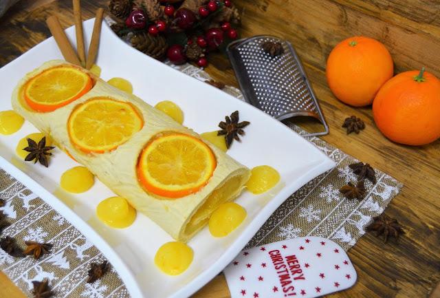 tronco de navidad, postres de navidad, recetas de navidad, postres de naranja, crema de naranja, brazo gitano, tronco de navidad fácil, tronco de navidad receta, tronco navidad con galletas, las delicias de mayte,