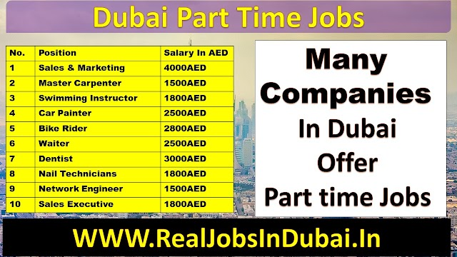 Part Time Jobs in Dubai For Male & Female Students .