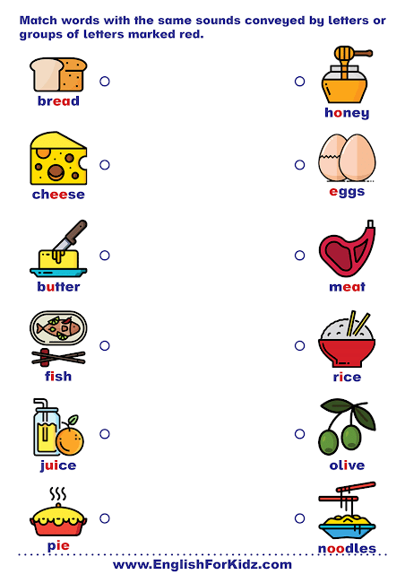 Printable phonics worksheet - matching two words with the same sound