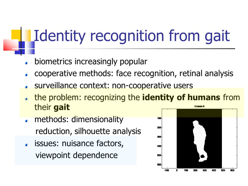 gait recognition Human traits such as the face, voice, and gait are commonly used for biometric- based person recognition although gait is one of the most.
