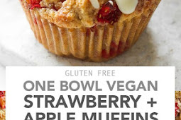 One Bowl Vegan Strawberry and Apple Muffins