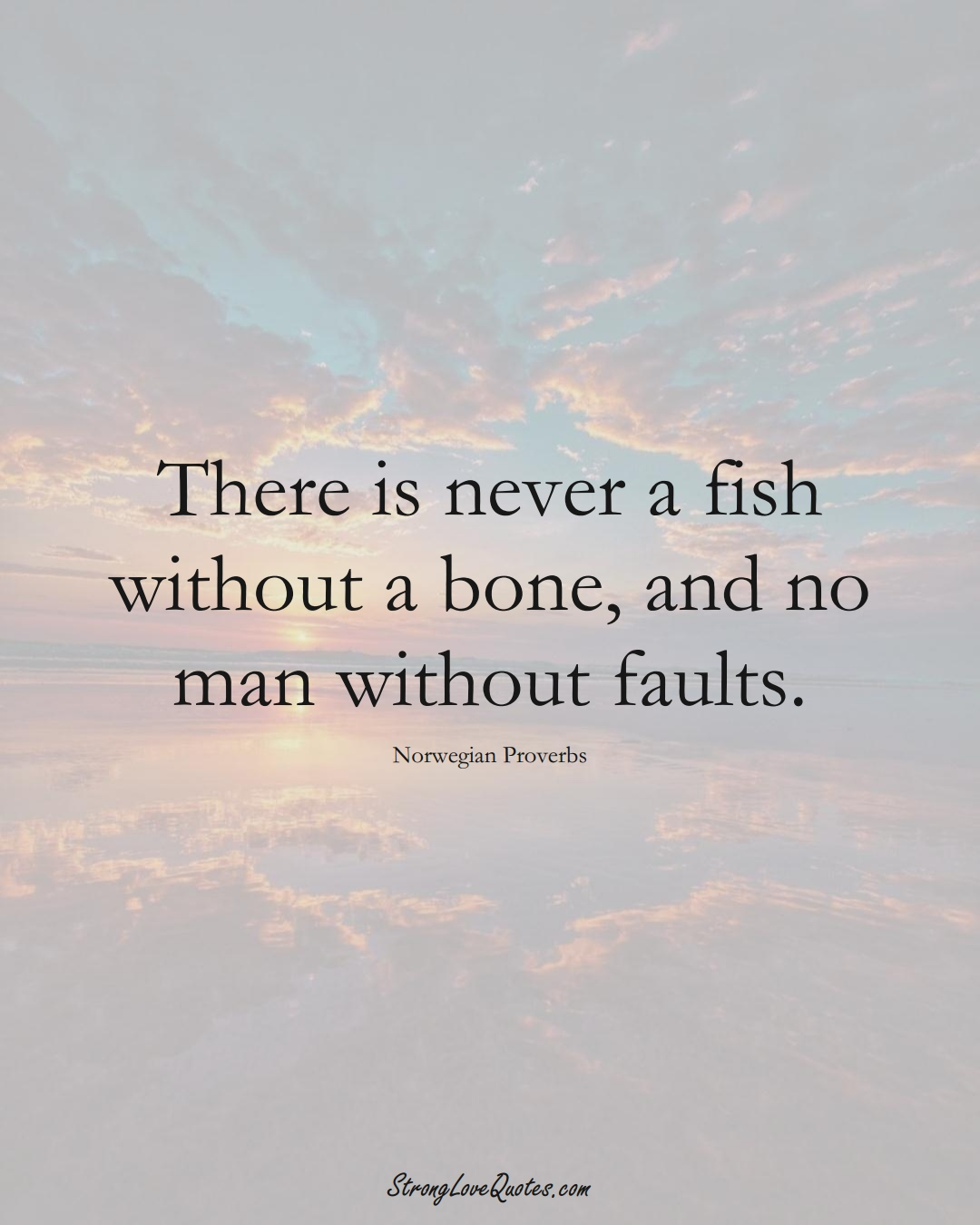 There is never a fish without a bone, and no man without faults. (Norwegian Sayings);  #EuropeanSayings