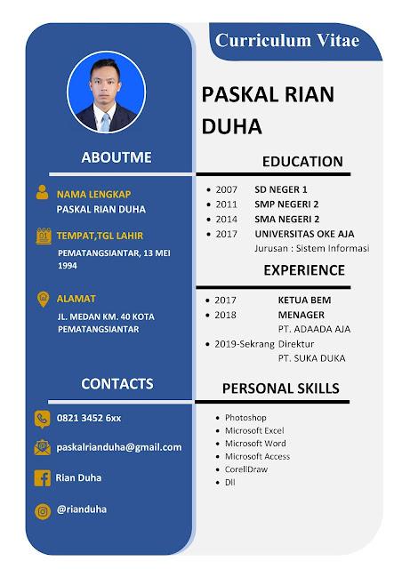 Template CV lamaran Kerja